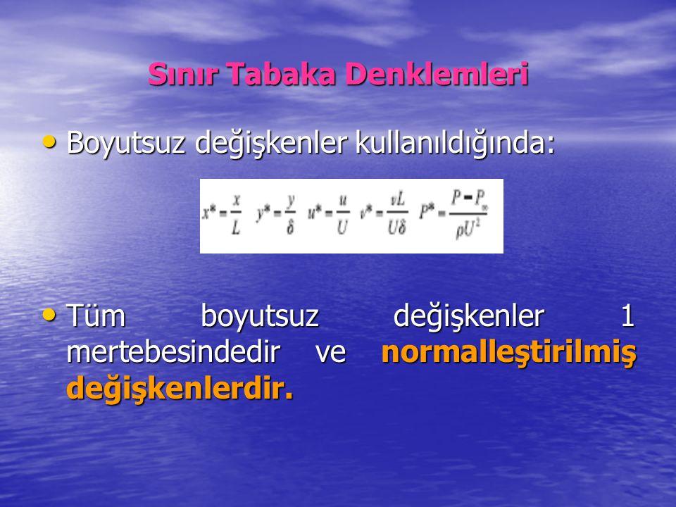 Sınır Tabaka Denklemleri Boyutsuz değişkenler kullanıldığında: Boyutsuz değişkenler kullanıldığında: Tüm boyutsuz değişkenler 1 mertebesindedir ve nor