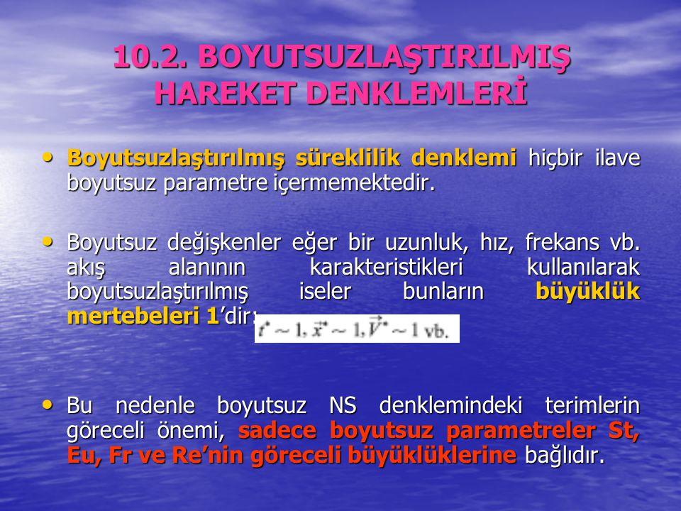 10.2. BOYUTSUZLAŞTIRILMIŞ HAREKET DENKLEMLERİ Boyutsuzlaştırılmış süreklilik denklemi hiçbir ilave boyutsuz parametre içermemektedir. Boyutsuzlaştırıl