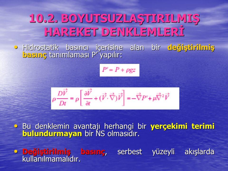 10.2. BOYUTSUZLAŞTIRILMIŞ HAREKET DENKLEMLERİ Hidrostatik basıncı içerisine alan bir değiştirilmiş basınç tanımlaması P' yapılır: Hidrostatik basıncı