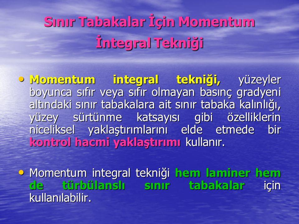 Sınır Tabakalar İçin Momentum İntegral Tekniği Momentum integral tekniği, yüzeyler boyunca sıfır veya sıfır olmayan basınç gradyeni altındaki sınır ta
