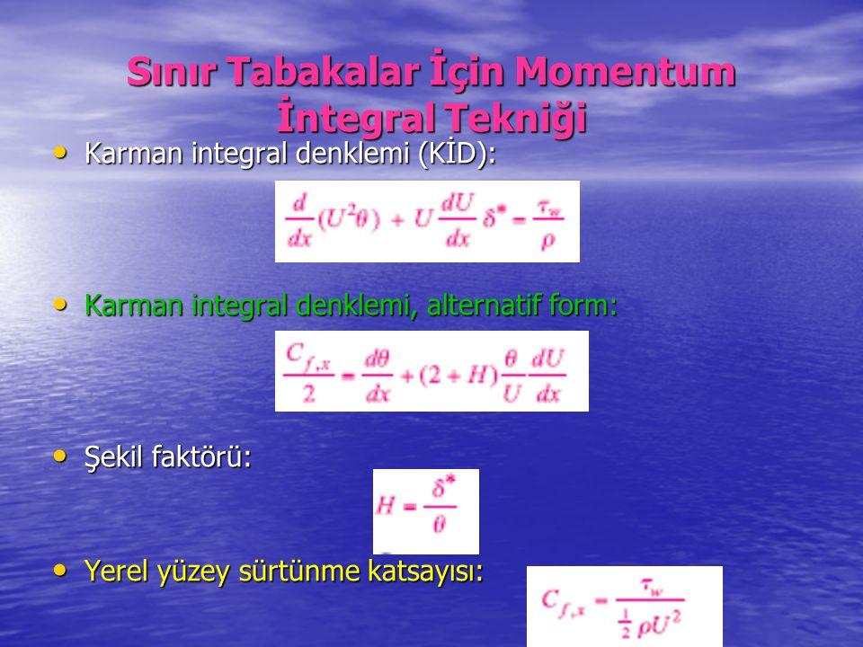 Sınır Tabakalar İçin Momentum İntegral Tekniği Karman integral denklemi (KİD): Karman integral denklemi (KİD): Karman integral denklemi, alternatif fo