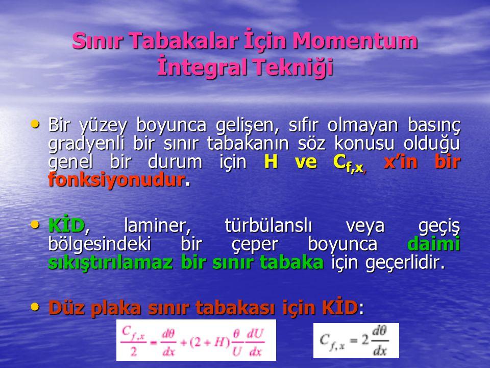 Sınır Tabakalar İçin Momentum İntegral Tekniği Bir yüzey boyunca gelişen, sıfır olmayan basınç gradyenli bir sınır tabakanın söz konusu olduğu genel b