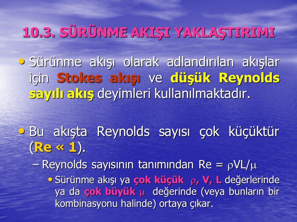 10.3. SÜRÜNME AKIŞI YAKLAŞTIRIMI Sürünme akışı olarak adlandırılan akışlar için Stokes akışı ve düşük Reynolds sayılı akış deyimleri kullanılmaktadır.