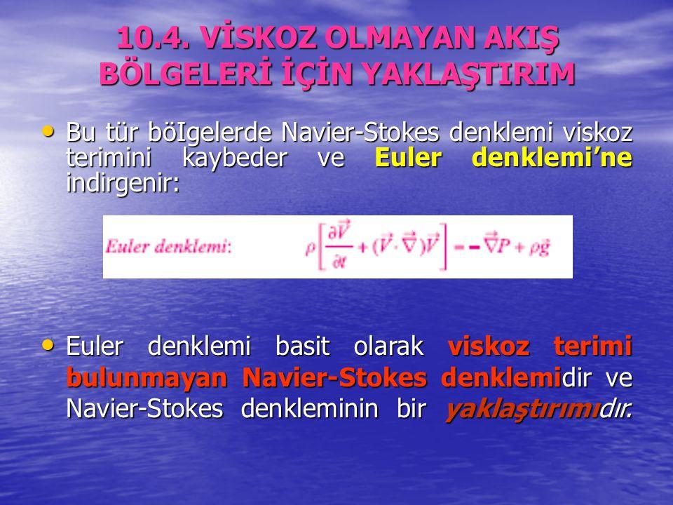 10.4. VİSKOZ OLMAYAN AKIŞ BÖLGELERİ İÇİN YAKLAŞTIRIM Bu tür böIgelerde Navier-Stokes denklemi viskoz terimini kaybeder ve Euler denklemi'ne indirgenir