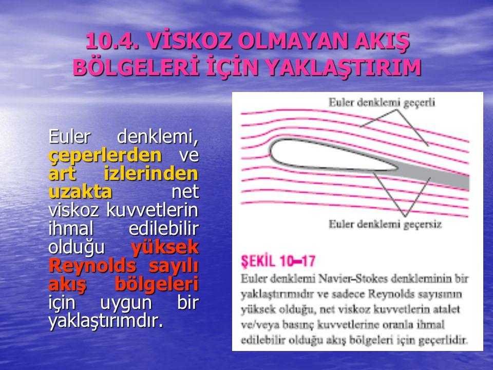 10.4. VİSKOZ OLMAYAN AKIŞ BÖLGELERİ İÇİN YAKLAŞTIRIM Euler denklemi, çeperlerden ve art izlerinden uzakta net viskoz kuvvetlerin ihmal edilebilir oldu