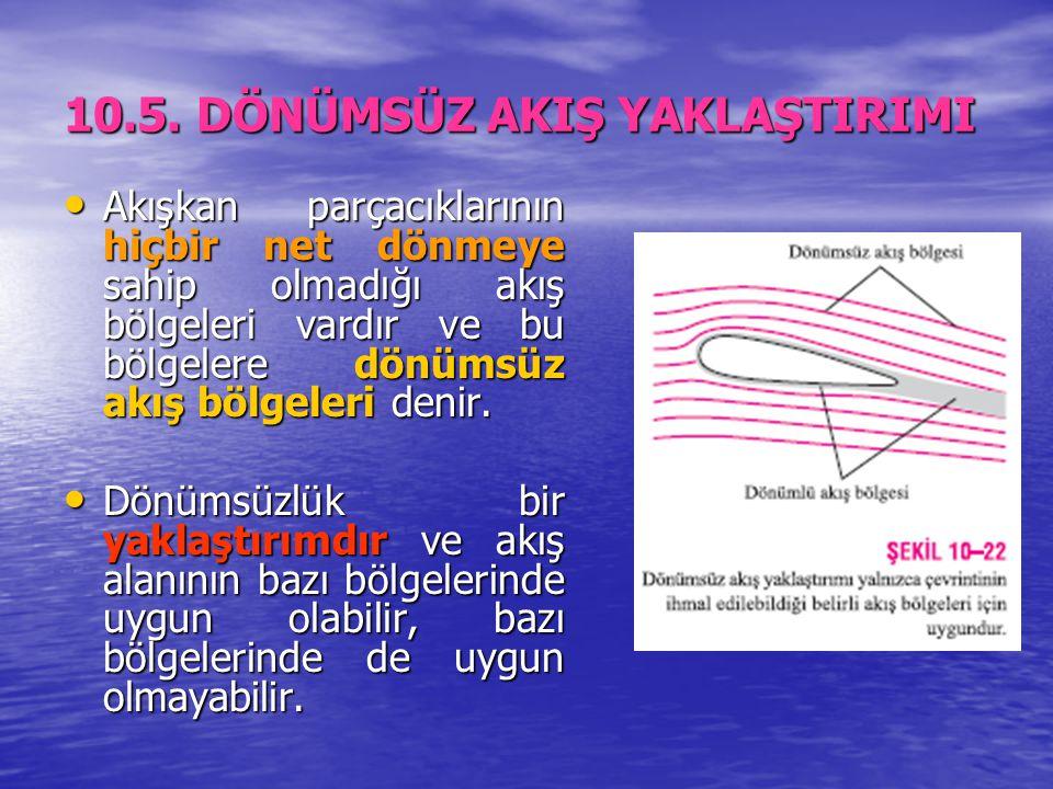 10.5. DÖNÜMSÜZ AKIŞ YAKLAŞTIRIMI Akışkan parçacıklarının hiçbir net dönmeye sahip olmadığı akış bölgeleri vardır ve bu bölgelere dönümsüz akış bölgele