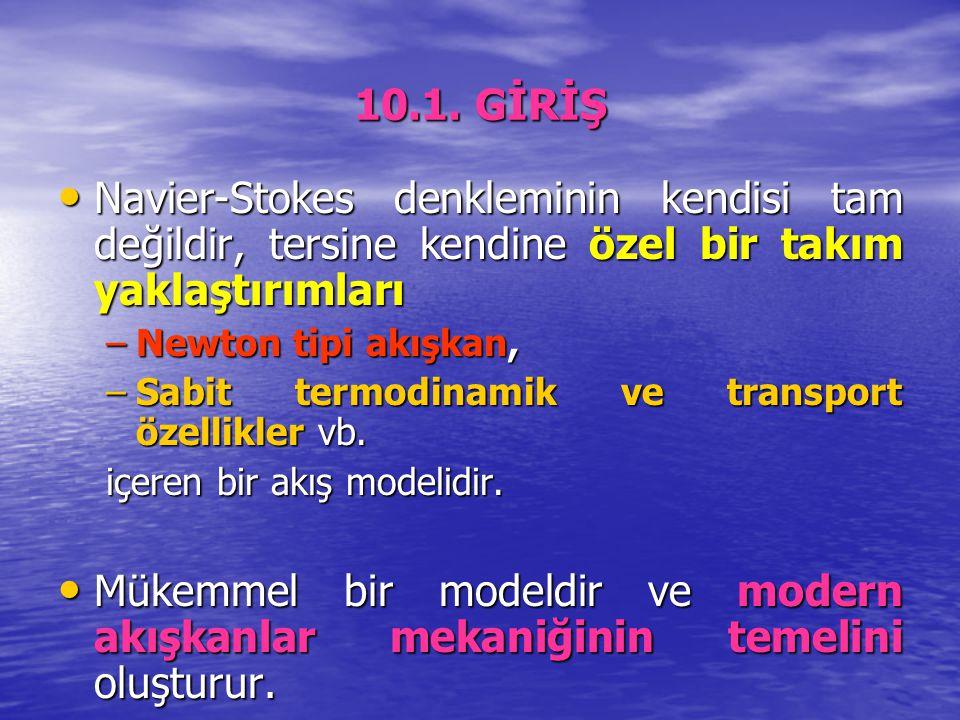 10.1. GİRİŞ Navier-Stokes denkleminin kendisi tam değildir, tersine kendine özel bir takım yaklaştırımları Navier-Stokes denkleminin kendisi tam değil