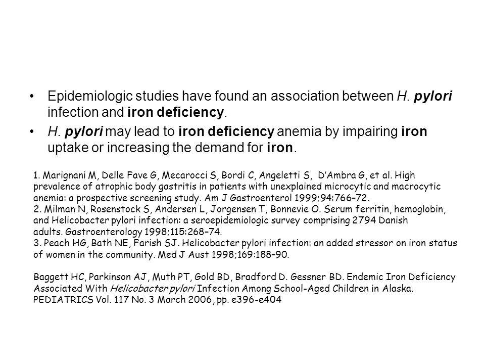 Epidemiologic studies have found an association between H.