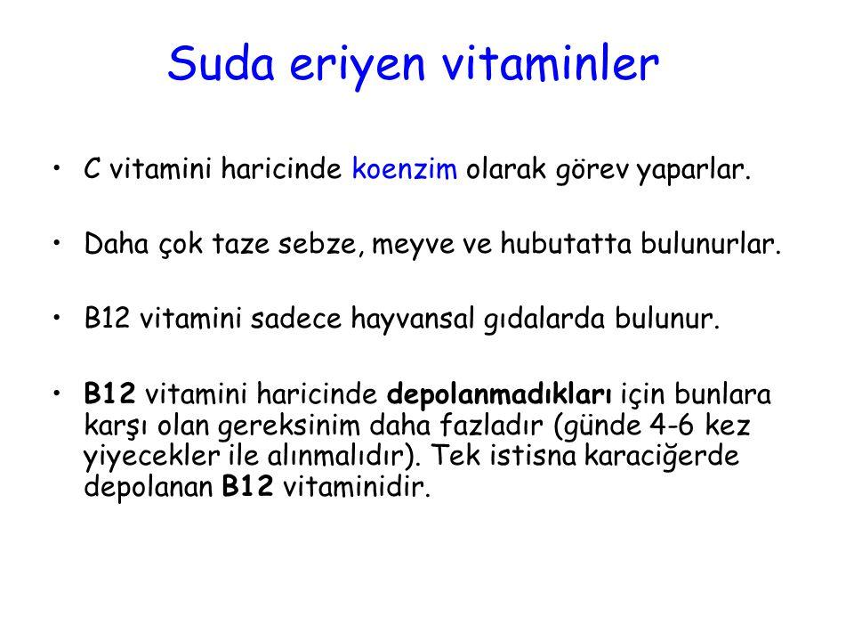 Suda eriyen vitaminler C vitamini haricinde koenzim olarak görev yaparlar.