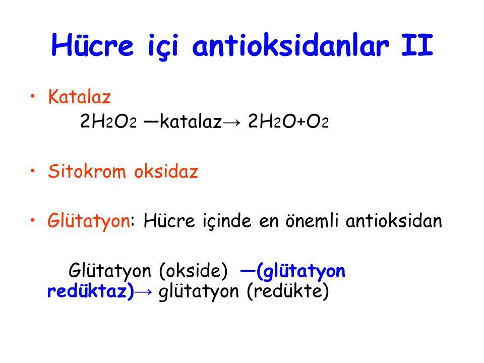 Katalaz 2H 2 O 2 —katalaz → 2H 2 O+O 2 Sitokrom oksidaz Glütatyon: Hücre içinde en önemli antioksidan Glütatyon (okside) —(glütatyon redüktaz) → glütatyon (redükte) Hücre içi antioksidanlar II