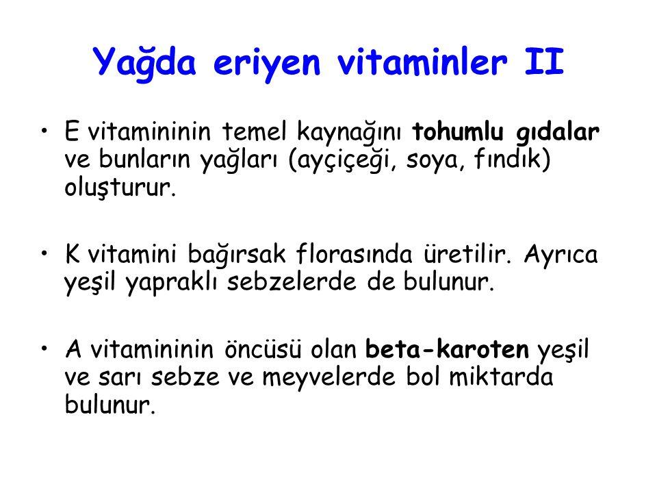 Yağda eriyen vitaminler II E vitamininin temel kaynağını tohumlu gıdalar ve bunların yağları (ayçiçeği, soya, fındık) oluşturur.