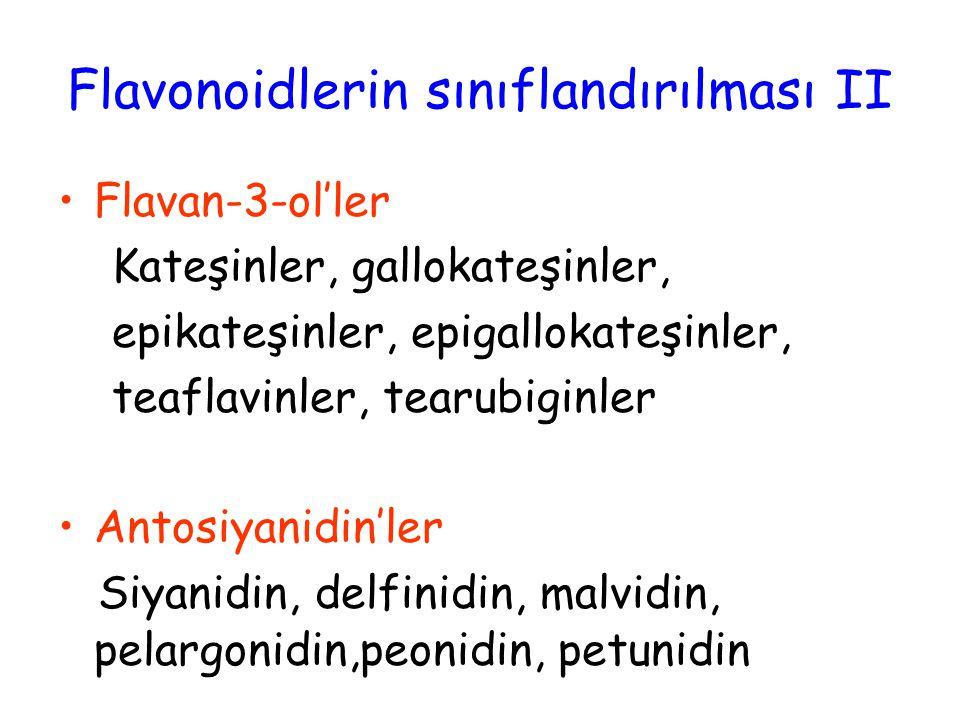 Flavan-3-ol'ler Kateşinler, gallokateşinler, epikateşinler, epigallokateşinler, teaflavinler, tearubiginler Antosiyanidin'ler Siyanidin, delfinidin, malvidin, pelargonidin,peonidin, petunidin Flavonoidlerin sınıflandırılması II