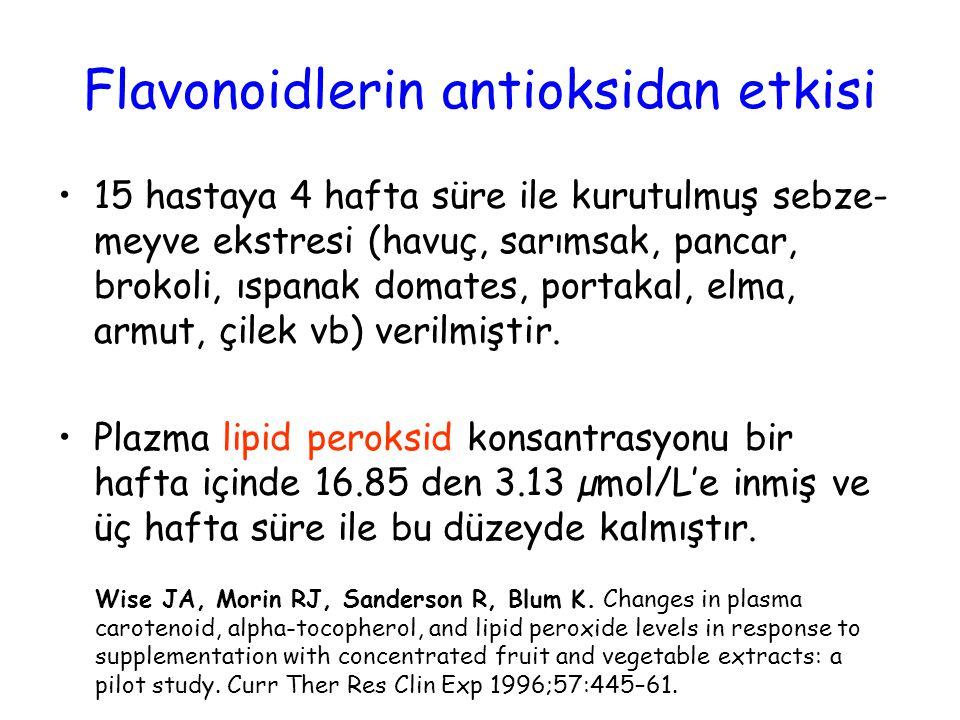 Flavonoidlerin antioksidan etkisi 15 hastaya 4 hafta süre ile kurutulmuş sebze- meyve ekstresi (havuç, sarımsak, pancar, brokoli, ıspanak domates, portakal, elma, armut, çilek vb) verilmiştir.