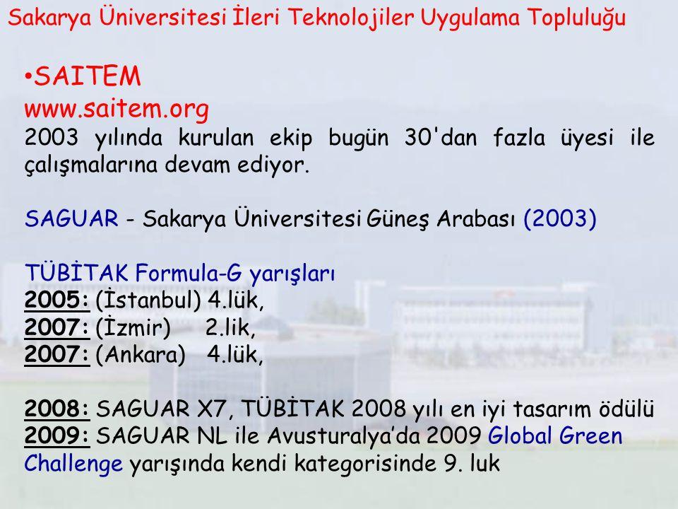 SAITEM www.saitem.org 2003 yılında kurulan ekip bugün 30'dan fazla üyesi ile çalışmalarına devam ediyor. SAGUAR - Sakarya Üniversitesi Güneş Arabası (