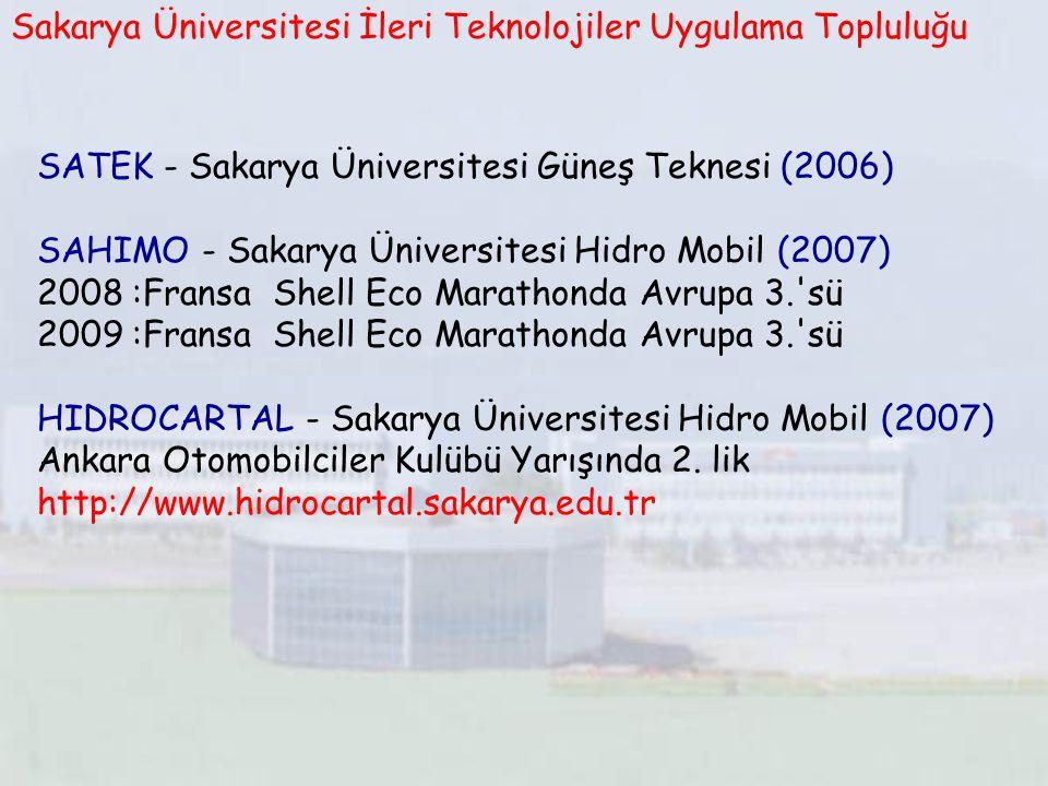 SATEK - Sakarya Üniversitesi Güneş Teknesi (2006) SAHIMO - Sakarya Üniversitesi Hidro Mobil (2007) 2008 :Fransa Shell Eco Marathonda Avrupa 3.'sü 2009