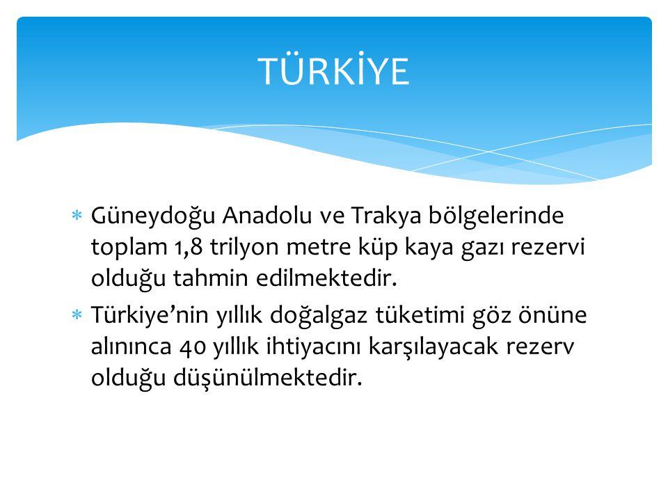  Güneydoğu Anadolu ve Trakya bölgelerinde toplam 1,8 trilyon metre küp kaya gazı rezervi olduğu tahmin edilmektedir.  Türkiye'nin yıllık doğalgaz tü