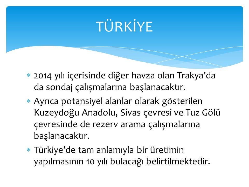  2014 yılı içerisinde diğer havza olan Trakya'da da sondaj çalışmalarına başlanacaktır.