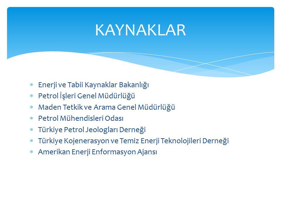  Enerji ve Tabii Kaynaklar Bakanlığı  Petrol İşleri Genel Müdürlüğü  Maden Tetkik ve Arama Genel Müdürlüğü  Petrol Mühendisleri Odası  Türkiye Petrol Jeologları Derneği  Türkiye Kojenerasyon ve Temiz Enerji Teknolojileri Derneği  Amerikan Enerji Enformasyon Ajansı KAYNAKLAR