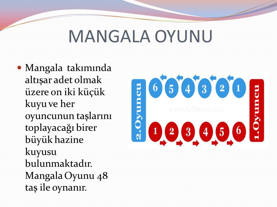 MANGALA OYUNU Mangala takımında altışar adet olmak üzere on iki küçük kuyu ve her oyuncunun taşlarını toplayacağı birer büyük hazine kuyusu bulunmaktadır.
