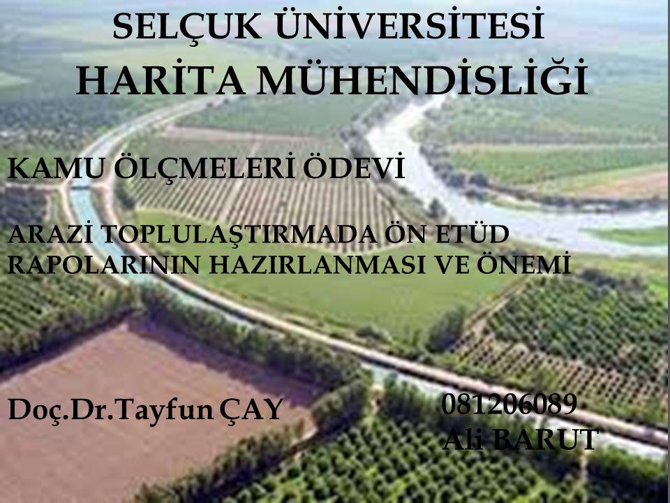  İÇİNDEKİLER 1-Arazi Toplulaştırması Tanımı 2-Arazi Toplulaştırması Hazırlıkları 3-Gaziantep iline bağlı Gedikli Köyü Arazi Toplulaştırması Ön Etüt Örneği 4-Ön Etüt Raporlarının Önemi