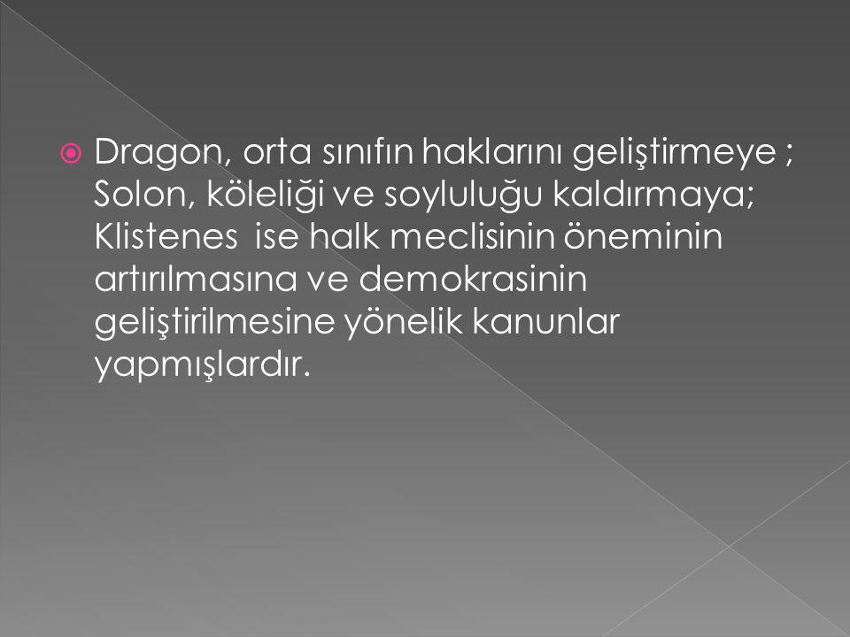 DDragon, orta sınıfın haklarını geliştirmeye ; Solon, köleliği ve soyluluğu kaldırmaya; Klistenes ise halk meclisinin öneminin artırılmasına ve demo