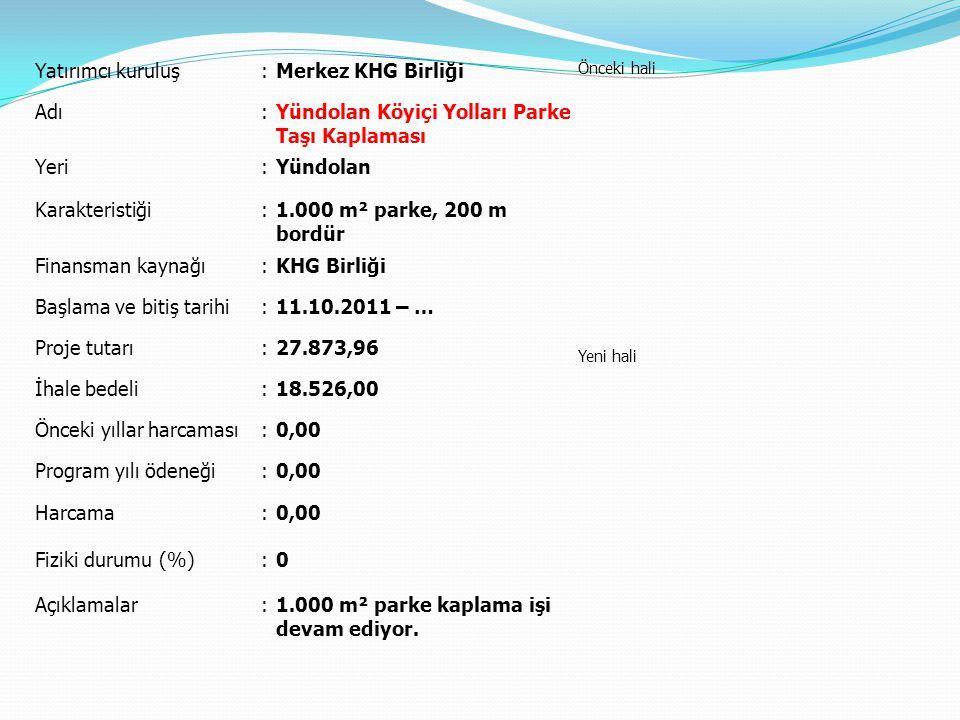 Yatırımcı kuruluş:Merkez KHG Birliği Önceki hali Yeni hali Adı:Yündolan Köyiçi Yolları Parke Taşı Kaplaması Yeri:Yündolan Karakteristiği:1.000 m² park