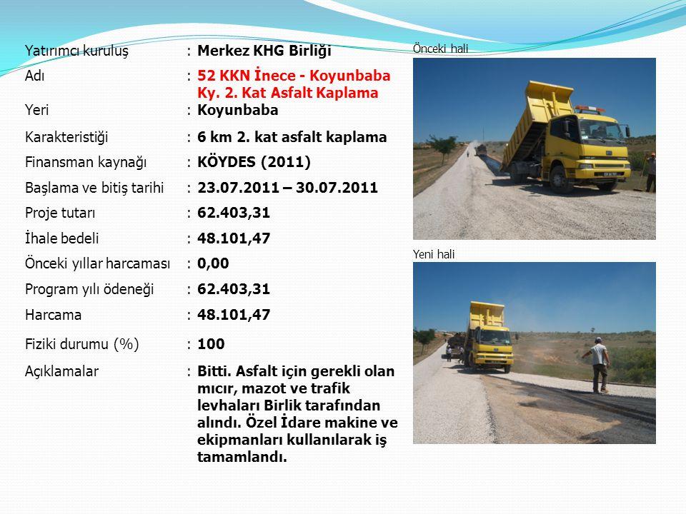 Yatırımcı kuruluş:Merkez KHG Birliği Önceki hali Yeni hali Adı:Üsküpdere Köyiçi Yolları Parke Taşı Kaplaması Yeri:Üsküpdere Karakteristiği:2.220 m² parke, 200 m bordür Finansman kaynağı:KÖYDES (2011) Başlama ve bitiş tarihi:07.06.2011 – 05.07.2011 Proje tutarı:54.000,00 İhale bedeli:46.055,40 Önceki yıllar harcaması:0,00 Program yılı ödeneği:54.000,00 Harcama:46.055,40 Fiziki durumu (%):100 Açıklamalar:Bitti.