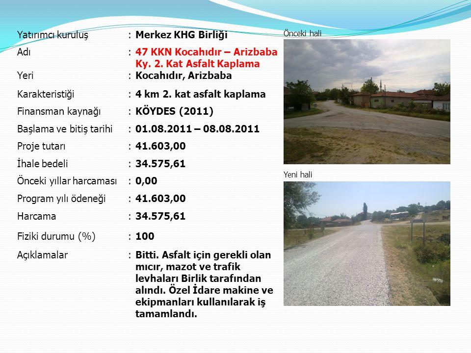 Yatırımcı kuruluş:Merkez KHG Birliği Önceki hali Yeni hali Adı:Yündolan Köyiçi Yolları Parke Taşı Kaplaması Yeri:Yündolan Karakteristiği:1.000 m² parke, 200 m bordür Finansman kaynağı:KHG Birliği Başlama ve bitiş tarihi:11.10.2011 – … Proje tutarı:27.873,96 İhale bedeli:18.526,00 Önceki yıllar harcaması:0,00 Program yılı ödeneği:0,00 Harcama:0,00 Fiziki durumu (%):0 Açıklamalar:1.000 m² parke kaplama işi devam ediyor.
