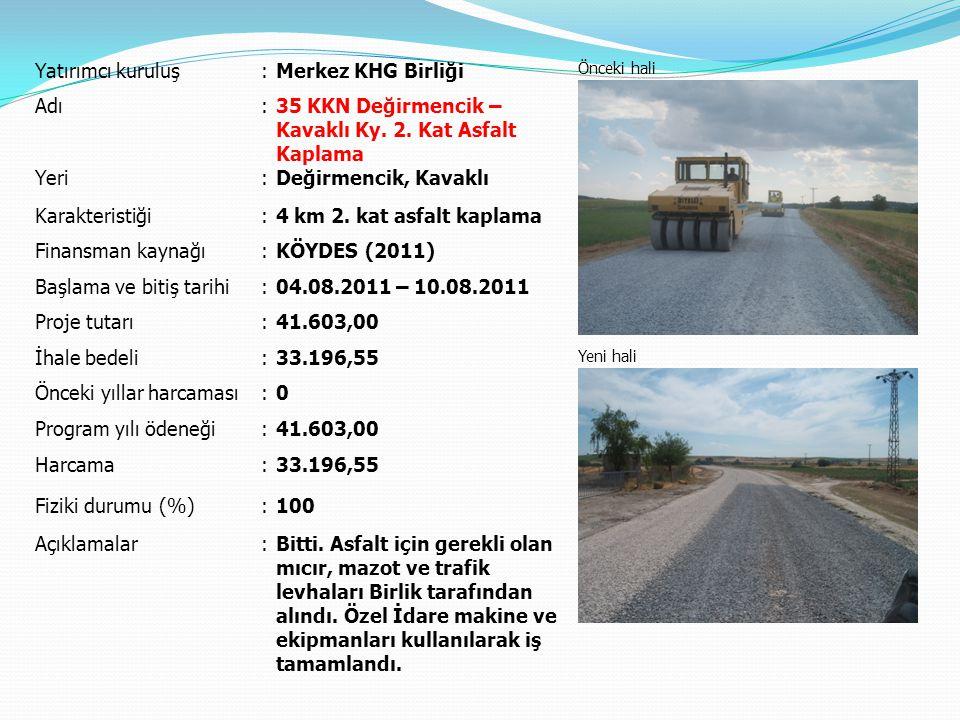 Yatırımcı kuruluş:Merkez KHG Birliği Önceki hali Yeni hali Adı:51 KKN Paşayeri – Dolhan Ky.
