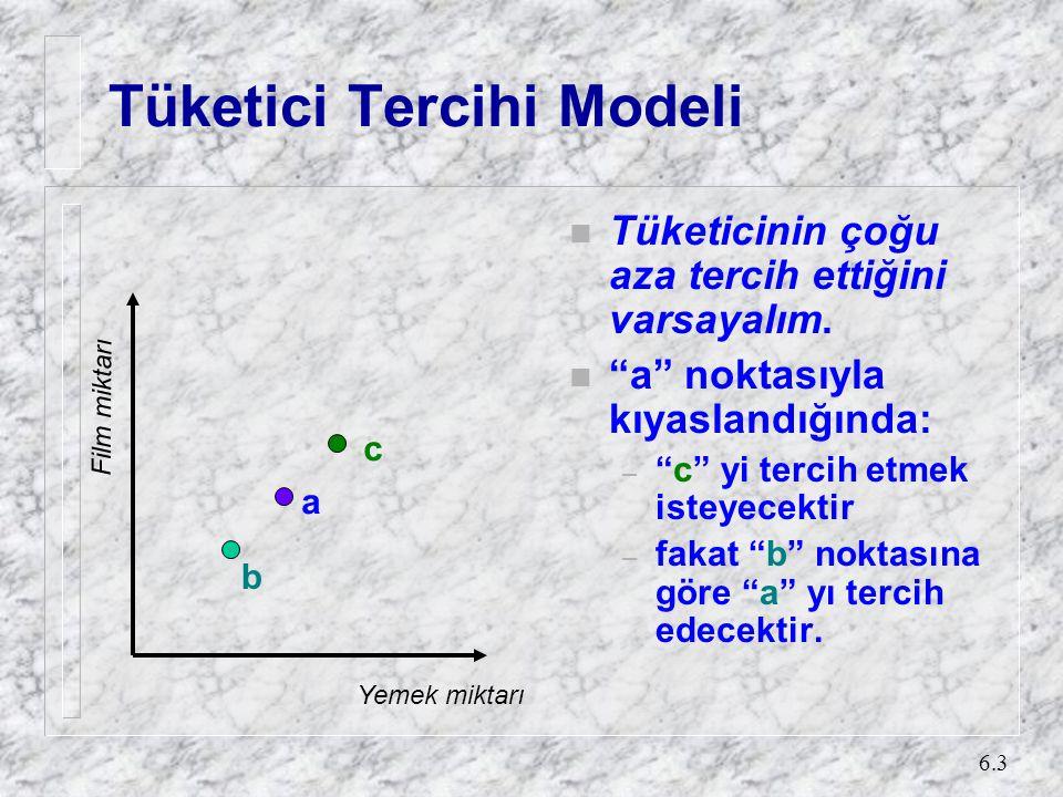 6.3 Tüketici Tercihi Modeli n Tüketicinin çoğu aza tercih ettiğini varsayalım.