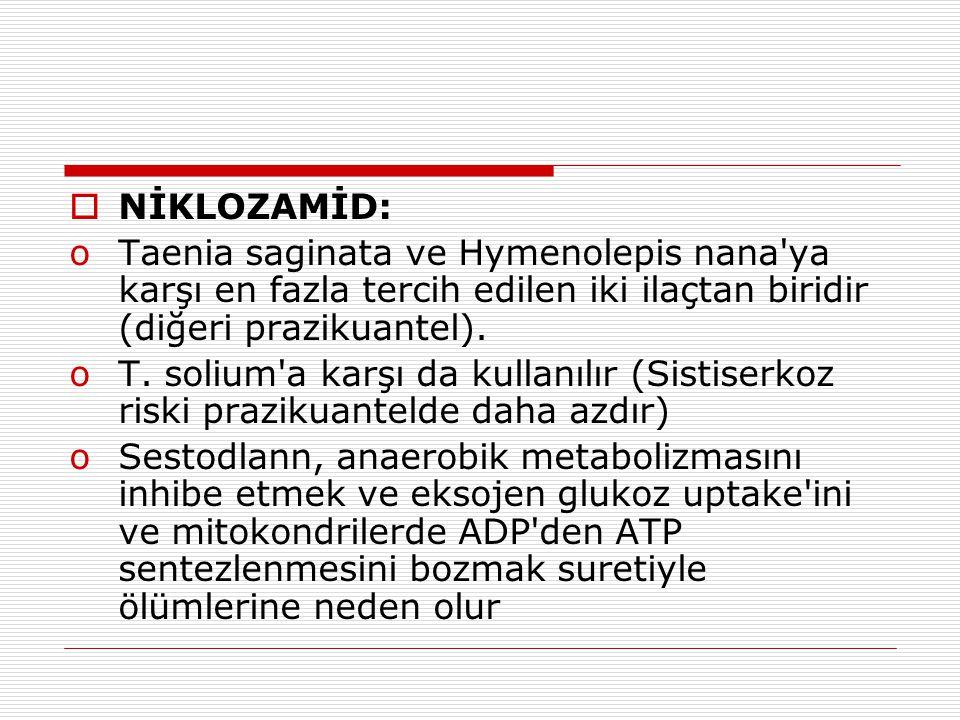  NİKLOZAMİD: oTaenia saginata ve Hymenolepis nana'ya karşı en fazla tercih edilen iki ilaçtan biridir (diğeri prazikuantel). oT. solium'a karşı da ku