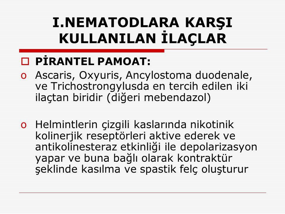 I.NEMATODLARA KARŞI KULLANILAN İLAÇLAR  PİRANTEL PAMOAT: oAscaris, Oxyuris, Ancylostoma duodenale, ve Trichostrongylusda en tercih edilen iki ilaçtan