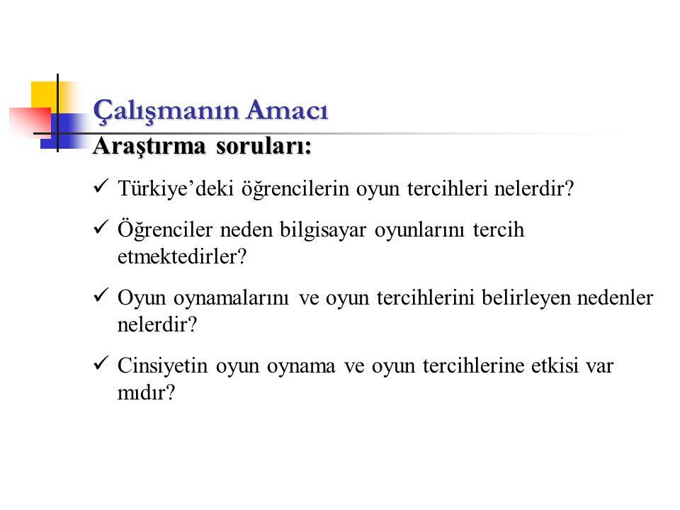 Çalışmanın Amacı Araştırma soruları: Türkiye'deki öğrencilerin oyun tercihleri nelerdir? Öğrenciler neden bilgisayar oyunlarını tercih etmektedirler?