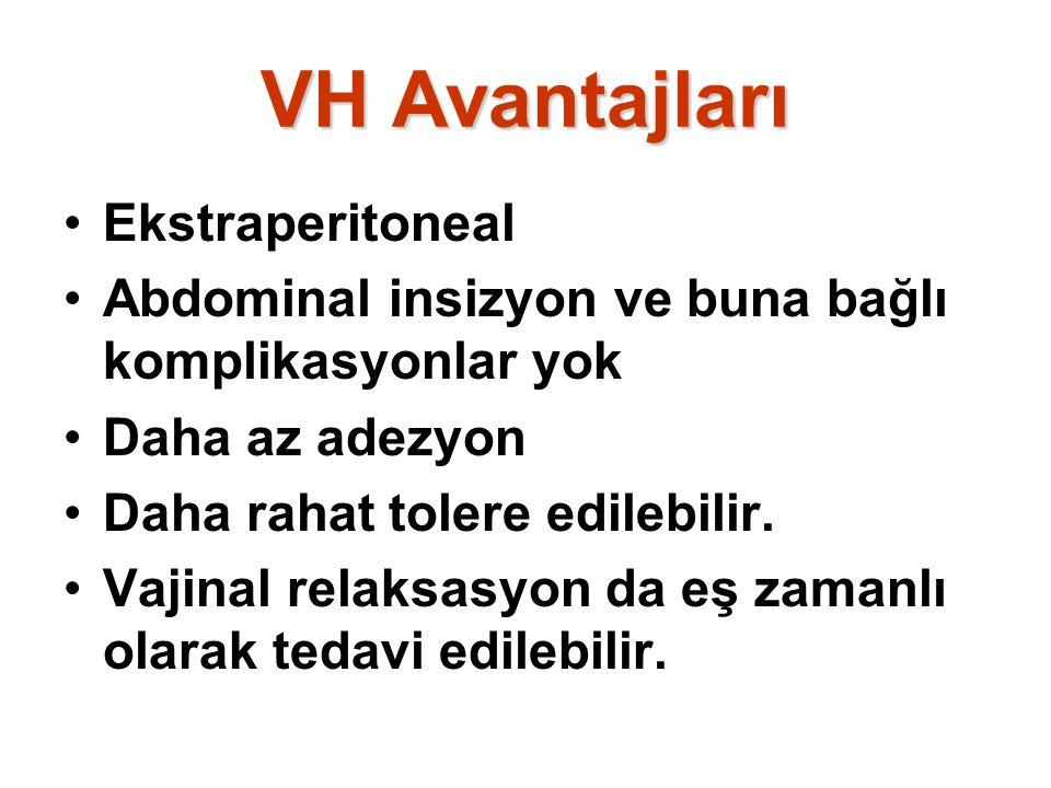 VH Avantajları Ekstraperitoneal Abdominal insizyon ve buna bağlı komplikasyonlar yok Daha az adezyon Daha rahat tolere edilebilir. Vajinal relaksasyon