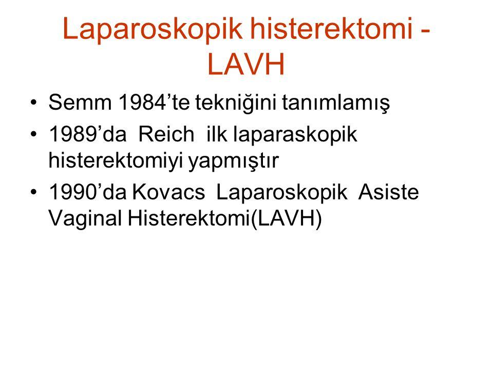 Laparoskopik histerektomi - LAVH Semm 1984'te tekniğini tanımlamış 1989'da Reich ilk laparaskopik histerektomiyi yapmıştır 1990'da Kovacs Laparoskopik