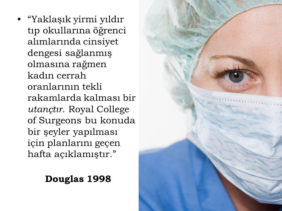 """""""Yaklaşık yirmi yıldır tıp okullarına öğrenci alımlarında cinsiyet dengesi sağlanmış olmasına rağmen kadın cerrah oranlarının tekli rakamlarda kalması"""