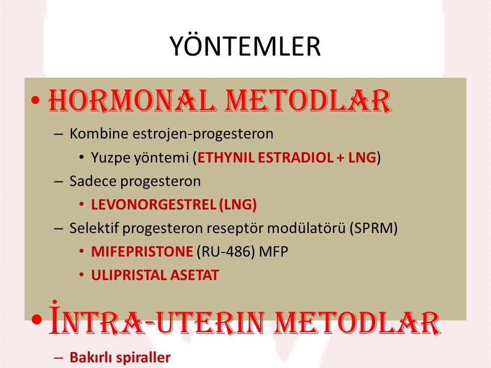 YÖNTEMLER Hormonal metodlar – Kombine estrojen-progesteron Yuzpe yöntemi (ETHYNIL ESTRADIOL + LNG) – Sadece progesteron LEVONORGESTREL (LNG) – Selekti