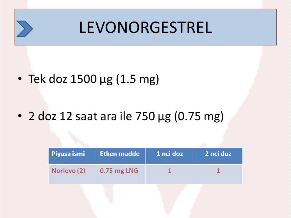 LEVONORGESTREL Tek doz 1500 µg (1.5 mg) 2 doz 12 saat ara ile 750 µg (0.75 mg) LEVONORGESTREL Piyasa ismiEtken madde1 nci doz2 nci doz Norlevo (2)0.75