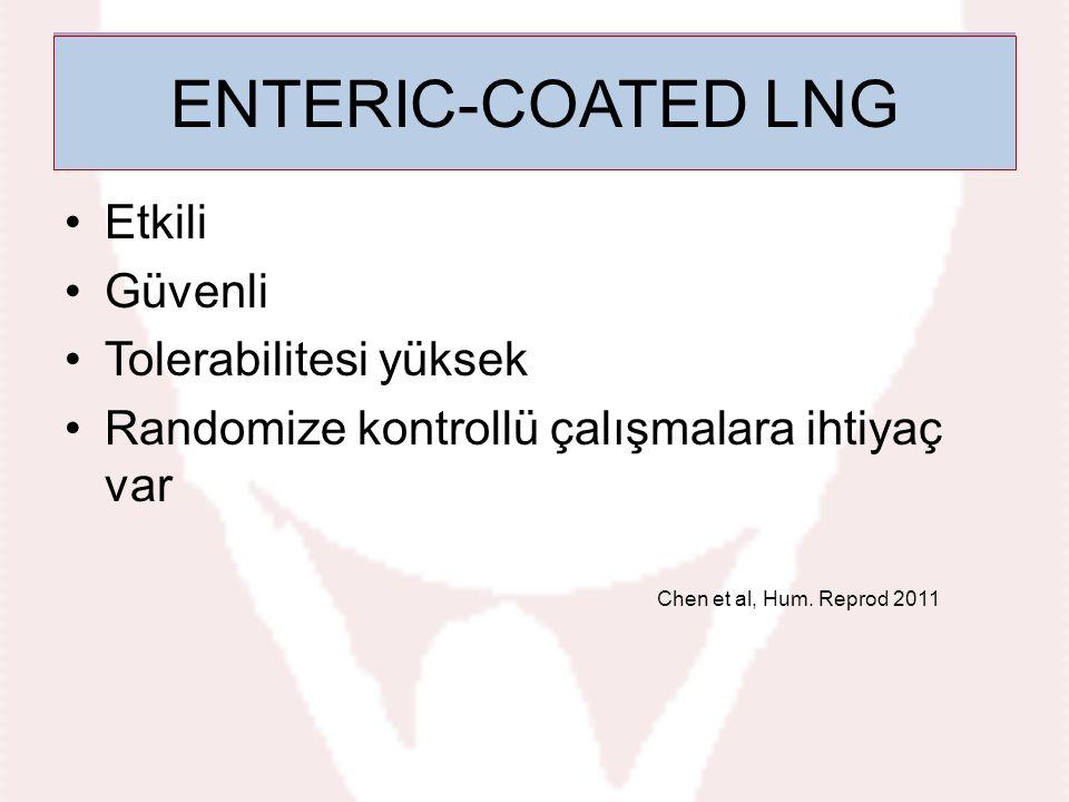 Etkili Güvenli Tolerabilitesi yüksek Randomize kontrollü çalışmalara ihtiyaç var Chen et al, Hum. Reprod 2011 Enteric-coated LNG ENTERIC-COATED LNG