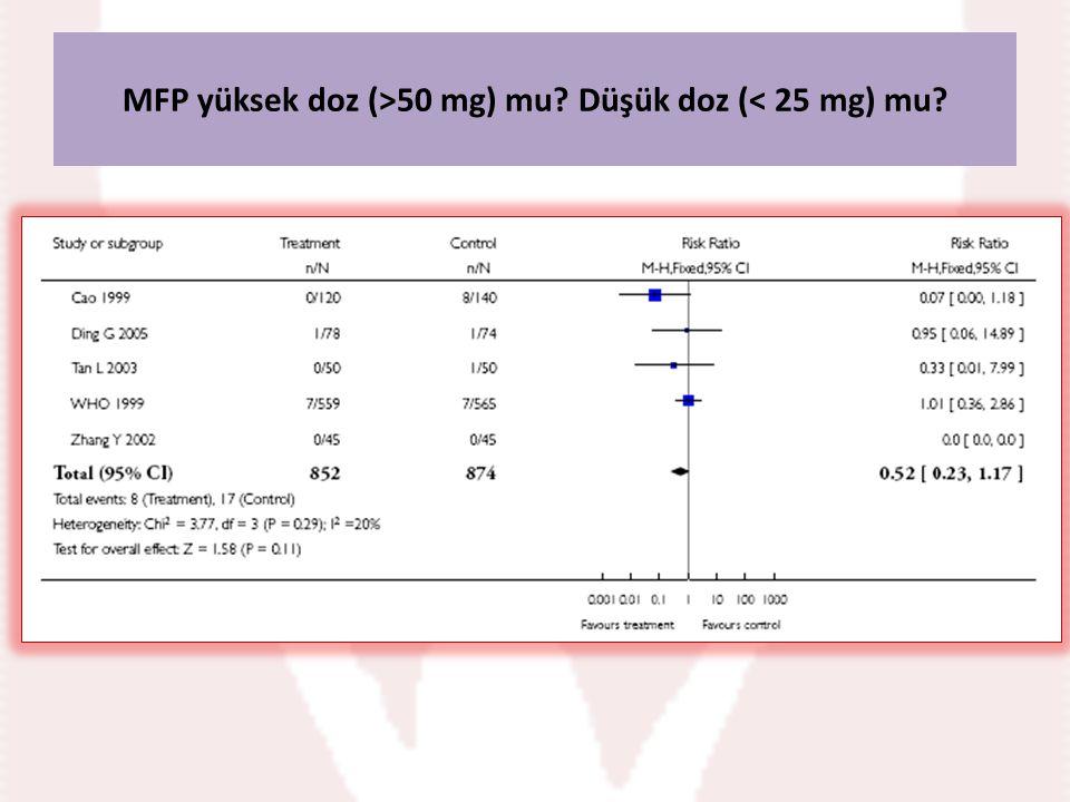 MFP yüksek doz (>50 mg) mu? Düşük doz (< 25 mg) mu?