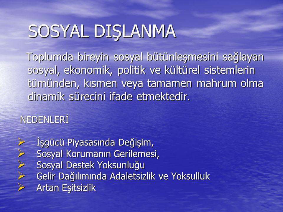 SOSYAL DIŞLANMA SOSYAL DIŞLANMA Toplumda bireyin sosyal bütünleşmesini sağlayan sosyal, ekonomik, politik ve kültürel sistemlerin tümünden, kısmen veya tamamen mahrum olma dinamik sürecini ifade etmektedir.