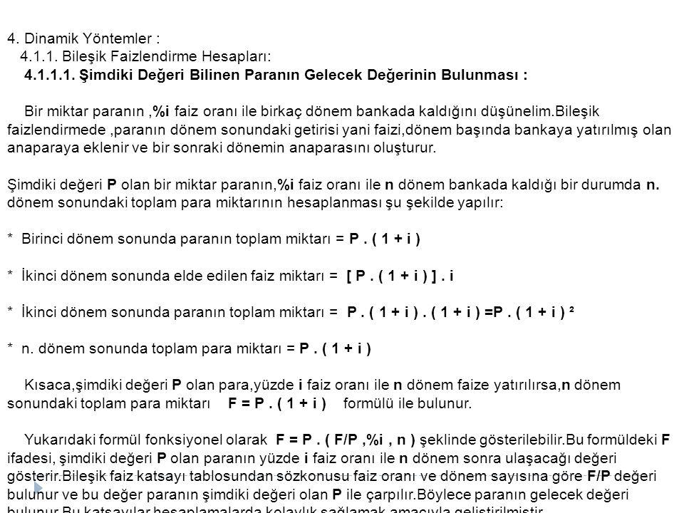 4.Dinamik Yöntemler : 4.1.1. Bileşik Faizlendirme Hesapları: 4.1.1.1.