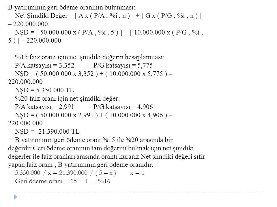 B yatırımının geri ödeme oranının bulunması: Net Şimdiki Değer = [ A x ( P/A, %i, n ) ] + [ G x ( P/G, %i, n ) ] – 220.000.000 NŞD = [ 50.000.000 x ( P/A, %i, 5 ) ] + [ 10.000.000 x ( P/G, %i, 5 ) ] – 220.000.000 %15 faiz oranı için net şimdiki değerin hesaplanması: P/A katsayısı = 3,352 P/G katsayısı = 5,775 NŞD = ( 50.000.000 x 3,352 ) + ( 10.000.000 x 5,775 ) – 220.000.000 NŞD = 5.350.000 TL %20 faiz oranı için net şimdiki değer: P/A katsayısı = 2,991 P/G katsayısı = 4,906 NŞD = ( 50.000.000 x 2,991 ) + ( 10.000.000 x 4,906 ) – 220.000.000 NŞD = -21.390.000 TL B yatırımının geri ödeme oranı %15 ile %20 arasında bir değerdir.Geri ödeme oranının tam değerini bulmak için net şimdiki değerler ile faiz oranları arasında orantı kurarız.Net şimdiki değeri sıfır yapan faiz oranı, B yatırımının geri ödeme oranıdır.