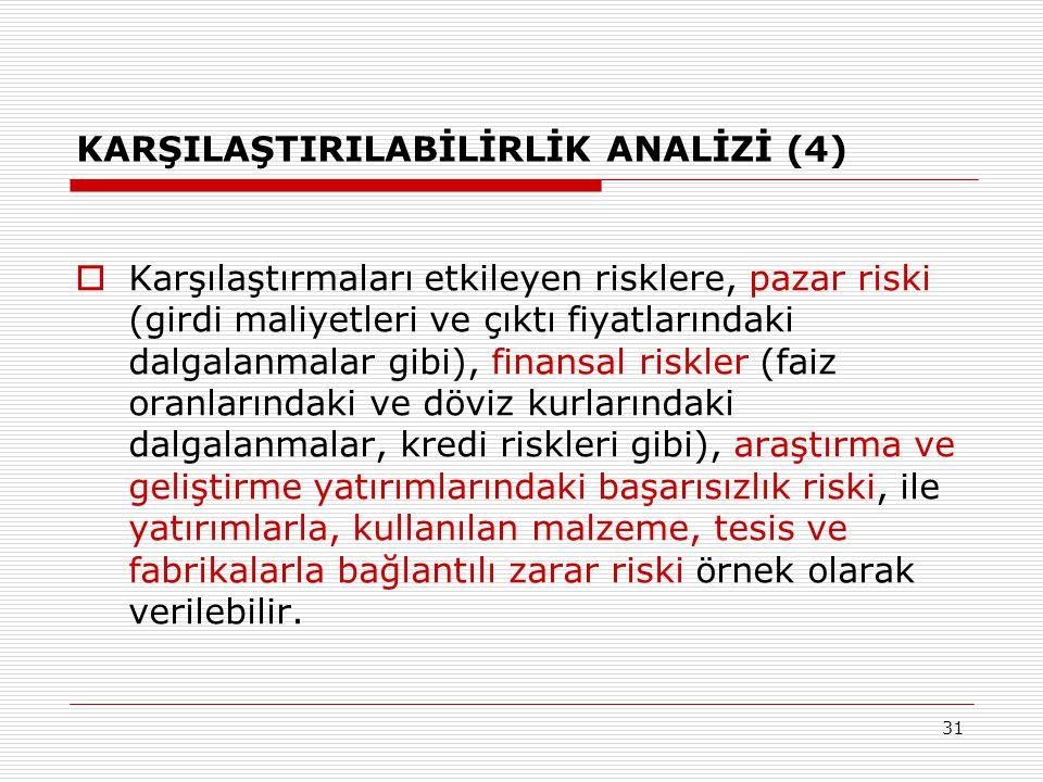 31 KARŞILAŞTIRILABİLİRLİK ANALİZİ (4)  Karşılaştırmaları etkileyen risklere, pazar riski (girdi maliyetleri ve çıktı fiyatlarındaki dalgalanmalar gib