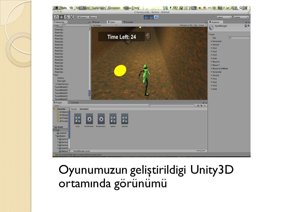 Oyunumuzun geliştirildigi Unity3D ortamında görünümü
