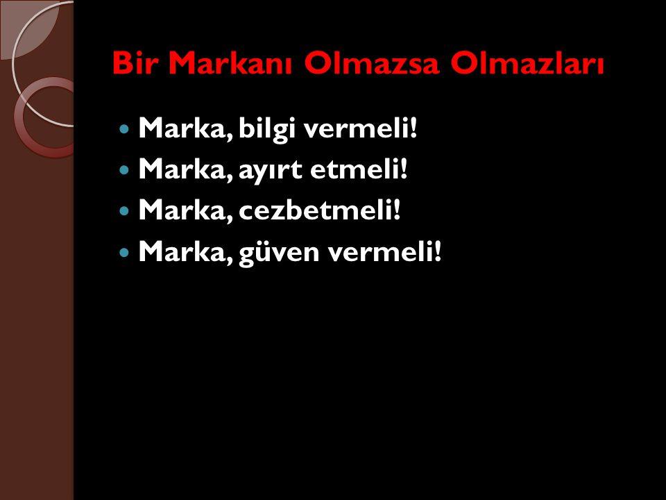 Bir Markanı Olmazsa Olmazları Marka, bilgi vermeli! Marka, ayırt etmeli! Marka, cezbetmeli! Marka, güven vermeli!