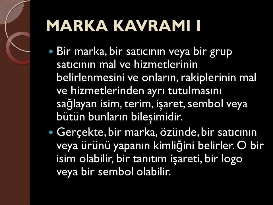 MARKA KAVRAMI I Bir marka, bir satıcının veya bir grup satıcının mal ve hizmetlerinin belirlenmesini ve onların, rakiplerinin mal ve hizmetlerinden ay