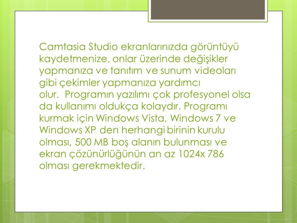 Camtasia Studio ekran videosu çekme programı son sürüm yazılımıyla sizin en iyi videoları hazırlamanız ve yayınlamanız için kurulmuş bir programdır.