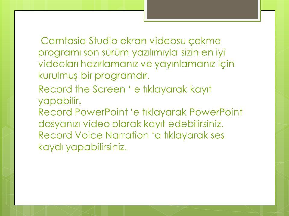 Camtasia Studio ekran videosu çekme programı son sürüm yazılımıyla sizin en iyi videoları hazırlamanız ve yayınlamanız için kurulmuş bir programdır. R