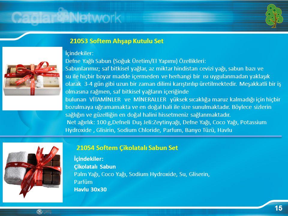 15 21053 Softem Ahşap Kutulu Set İçindekiler: Defne Yağlı Sabun (Soğuk Üretim/El Yapımı) Özellikleri: Sabunlarımız; saf bitkisel yağlar, az miktar hin